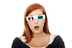 Woman in 3d cinema glasses Stock Photos