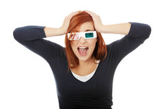 Woman in 3d cinema glasses Royalty Free Stock Image
