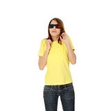 Woman in 3d cinema glasses Royalty Free Stock Images