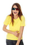 Woman in 3d cinema glasses Royalty Free Stock Photo