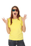 Woman in 3d cinema glasses Stock Images