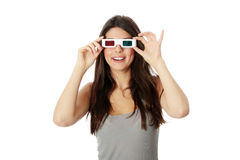 Woman with 3d glasses Stock Image
