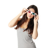Woman with 3d glasses Stock Images