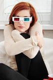 Woman with 3d glasses Royalty Free Stock Photos