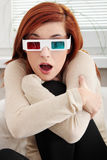 Woman with 3d glasses Royalty Free Stock Images