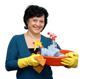 Woman. Cleaning house studio isolated Stock Images