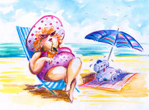 Woman. Fat woman with small dog on holidays.Picture I have painted myself with watercolors and colored pencils Stock Photography