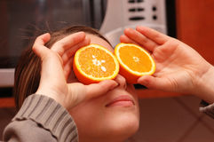 Woman. With orange glasses royalty free stock photos