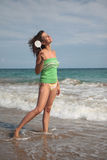 Woman. Holoday woman relaxing and standing on the sea stock images