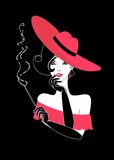 Woman. The beautiful young woman with a cigar Stock Illustration