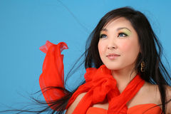 Woman. Asian woman with flowing hair Royalty Free Stock Photography