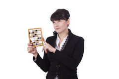 Woman with abacus Stock Images
