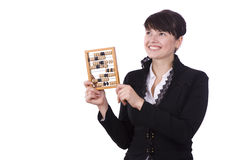 Woman with abacus Royalty Free Stock Image