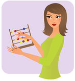 Woman with an abacus Stock Photo