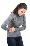 Woman with abdominal pain royalty free stock image