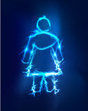 Woman, Abstract background made of Electric lighting Royalty Free Stock Photos