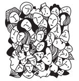 Woman abstract faces graphic hand-drawn. Card stock illustration
