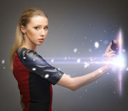Woman with access card. Picture of futuristic woman with access card Royalty Free Stock Photography