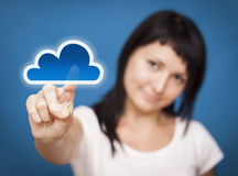 Woman accessing cloud computing system. Royalty Free Stock Photo