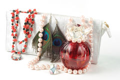 Woman accessories. On isolated white background Stock Photos