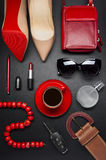 Woman accessories and coffee Royalty Free Stock Photography