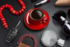 Woman accessories and coffee stock photo