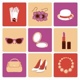 Woman accessories flat icon set Royalty Free Stock Photography
