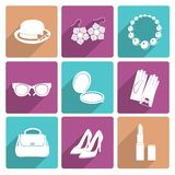 Woman Accessories Flat Icons Set Stock Photography