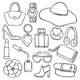 Woman accessories hand drawn set Stock Photos