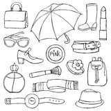 Woman accessories hand drawn set Royalty Free Stock Images