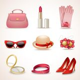 Woman accessories icon set Stock Photography