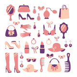 Woman accessories icon set Royalty Free Stock Image