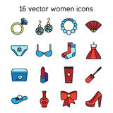 Woman accessories icons set of cosmetics, clothes Stock Photography