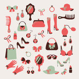 Woman accessories icons set Vector Illustration