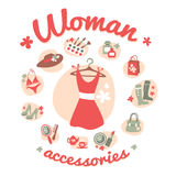 Woman accessories icons set vector Stock Photography