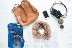 Woman accessories and items for spring travel, Flat lay Stock Photography