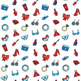 Woman accessories seamless pattern of cosmetics, clothes Royalty Free Stock Image