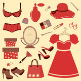 Woman accessories set Stock Photos