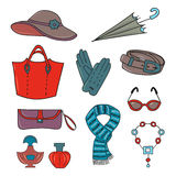 Woman accessories set. Collection of colorful female accessories Royalty Free Stock Images