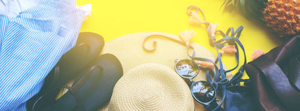 Woman Accessories to Beach Season Holiday Concept Royalty Free Stock Photo