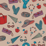 Woman accessories vector seamless pattern. Royalty Free Stock Image