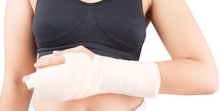 Woman in accident bone in finger broken from work out isolate Royalty Free Stock Photos