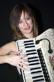 Woman with accordion Stock Photos