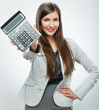 Woman accountant portrait. Young business woman. White backgrou Stock Image