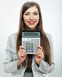 Woman accountant portrait. Young business woman. White backgrou Stock Photos