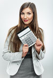 Woman accountant portrait. Young business woman. White backgrou Royalty Free Stock Images
