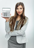 Woman accountant show calculator. Young business w Stock Photography