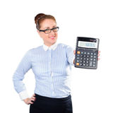 Woman accountant show calculator Stock Photography