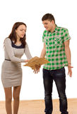 Woman accusing her boyfriend pointing to papers Royalty Free Stock Image