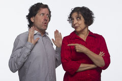 Woman accusing man of something, horizontal Royalty Free Stock Images